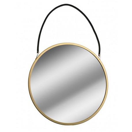 miroir mural rond metal dore suspendu par une corde noire versa d 43 cm