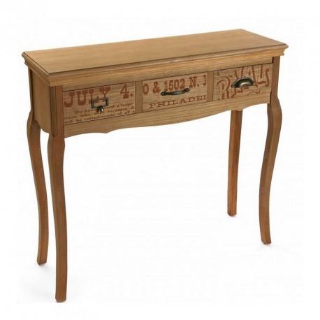 table console d entree bois 3 tiroirs retro vintage versa rian. Black Bedroom Furniture Sets. Home Design Ideas