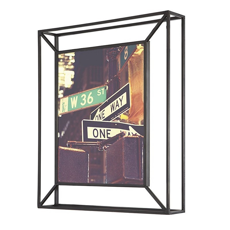 cadre photo metal noir a poser ou a suspendre umbra matrix 311118 040. Black Bedroom Furniture Sets. Home Design Ideas