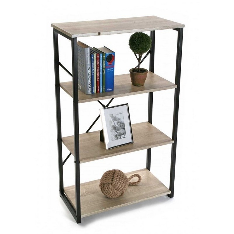 etagere de bureau a poser structure metal noir et bois 4. Black Bedroom Furniture Sets. Home Design Ideas