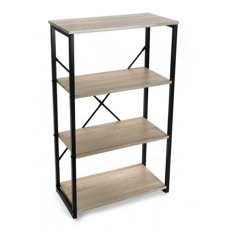 etagere de bureau a poser structure metal noir et bois 4 niveaux versa 20880067. Black Bedroom Furniture Sets. Home Design Ideas