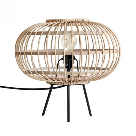 hk living lampe de table en bambou tresse et metal noir VOL5001