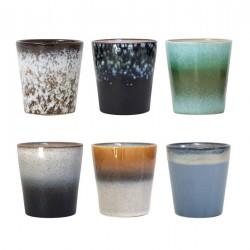 hk living ACE6002 set de 6 tasses a cafe en ceramique 70 s