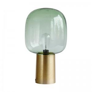 house doctor note CB0161 lampe de table verre fume vert metal aluminium dore