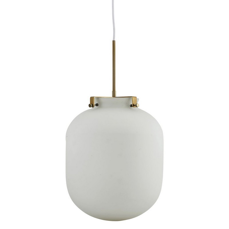House doctor gb0120 ball lampe suspension en verre blanche for Lampe suspension verre