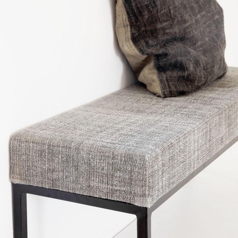 house doctor greys rm0300 banc gris epure metal noir. Black Bedroom Furniture Sets. Home Design Ideas