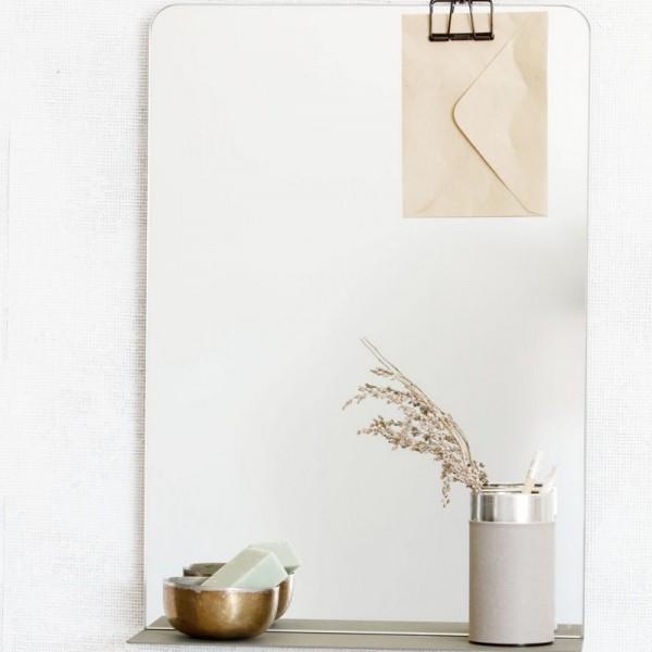 miroir design epure metal avec tablette house doctor room pj0082 kaki. Black Bedroom Furniture Sets. Home Design Ideas