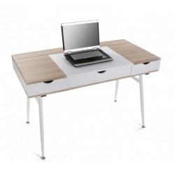 bureau d ordinateur rangement cables bois mdf et bois blanc versa 21300004