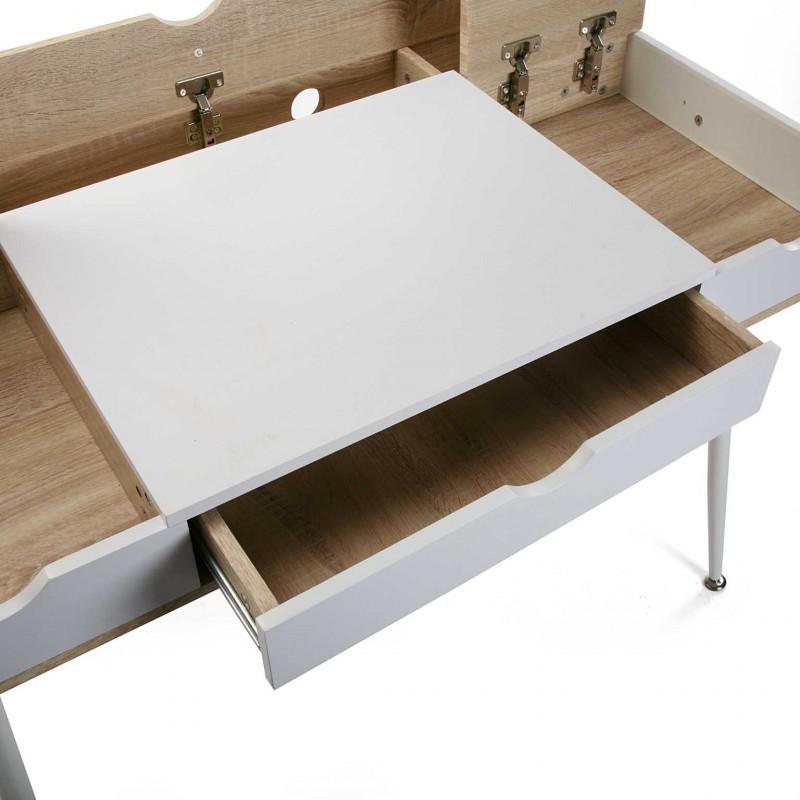 bureau d 39 ordinateur rangement c bles bois mdf et bois blanc versa. Black Bedroom Furniture Sets. Home Design Ideas