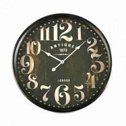 Horloge murale ronde métal noir vintage Versa D 50 cm