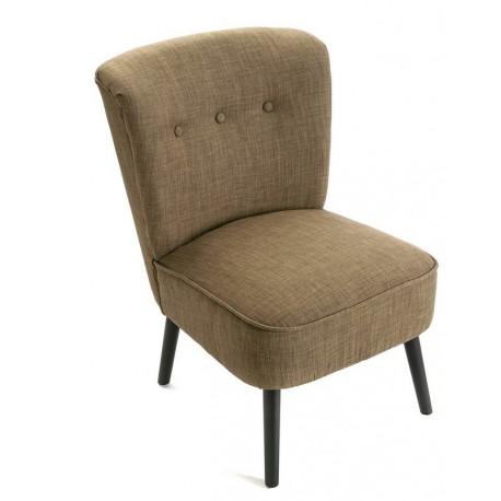 fauteuil bas vintage retro sans accoudoirs coton marron versa