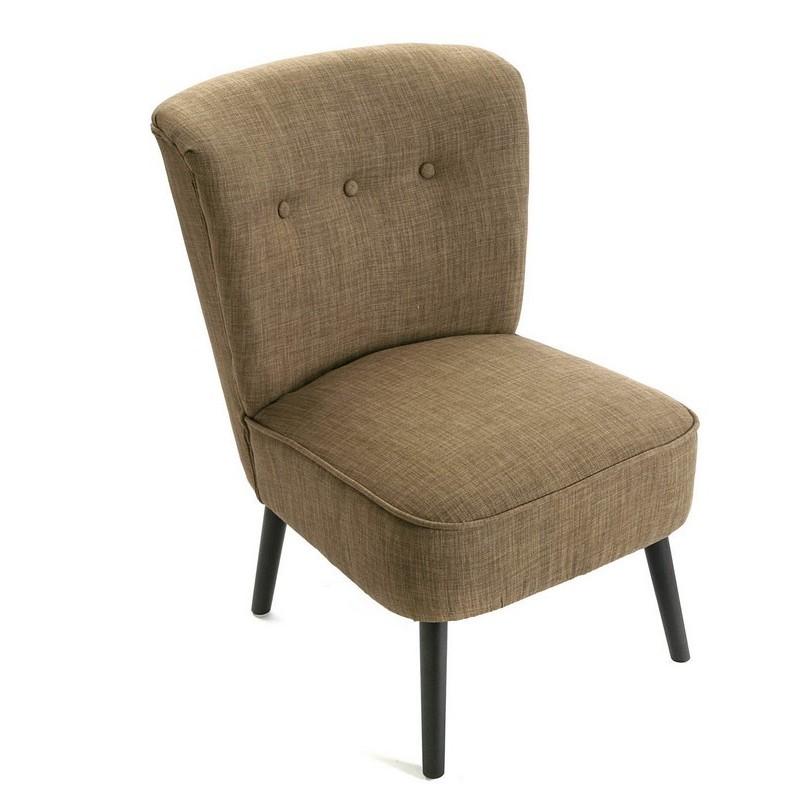 fauteuil bas vintage retro sans accoudoirs coton marron versa. Black Bedroom Furniture Sets. Home Design Ideas