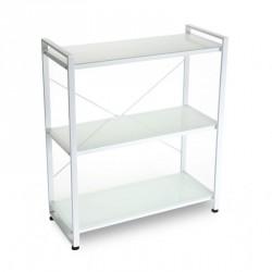 etagere metal blanc et verre 3 tablettes versa
