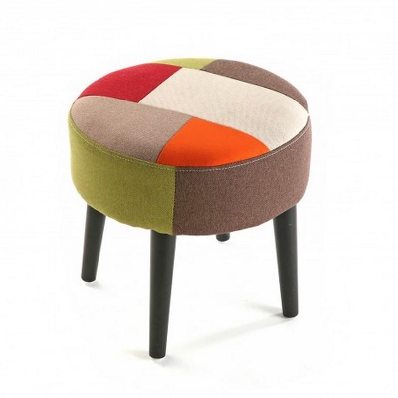 tabouret rond patchwork retro versa 19500451. Black Bedroom Furniture Sets. Home Design Ideas