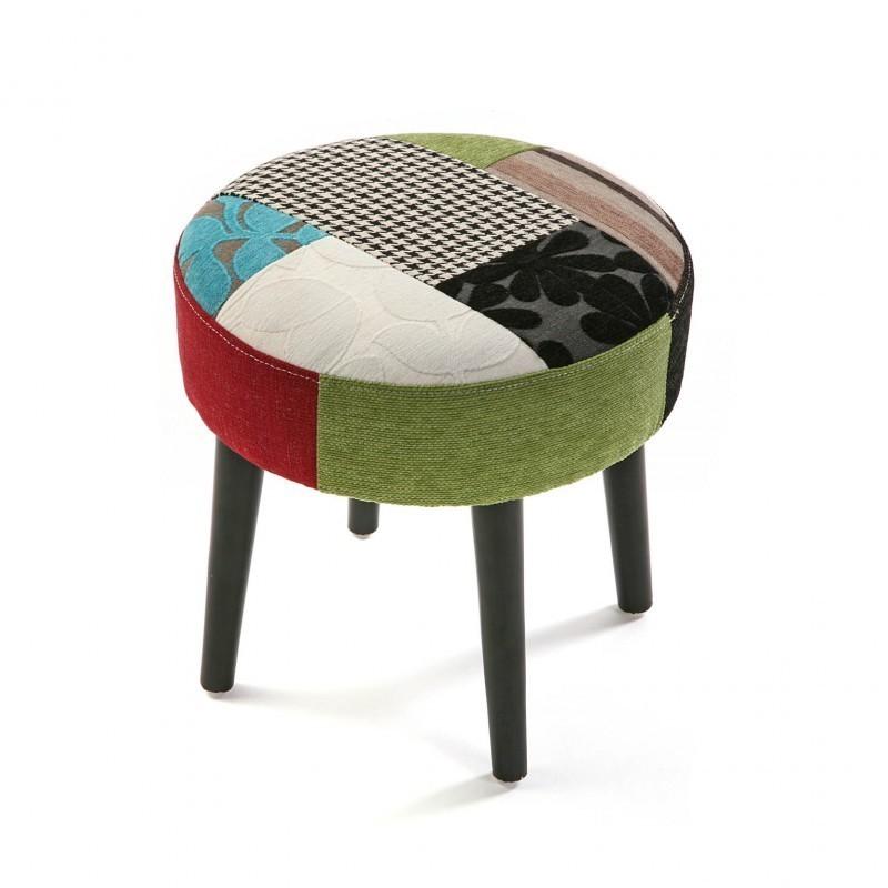 tabouret bas rond tissu patchwork versa. Black Bedroom Furniture Sets. Home Design Ideas