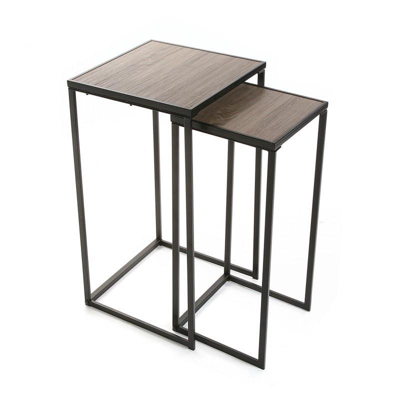 Sellette carree metal noir et bois style industriel versa for Table carree style industriel