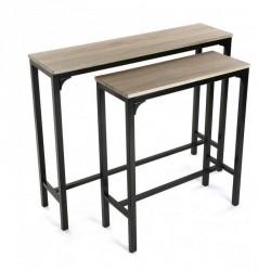 Console d'entrée style industriel métal noir bois Versa set de 2