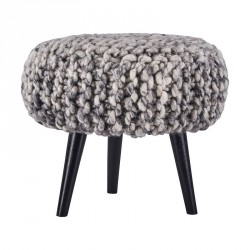 Tabouret rond tricot grosse maille laine House Doctor Knits gris naturel