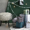 Tabouret rond tricot grosse maille laire House Doctor Knits gris naturel