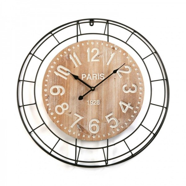 Grande horloge murale rustique m tal et bois clair versa d 60 cm - Horloge murale 60 cm ...