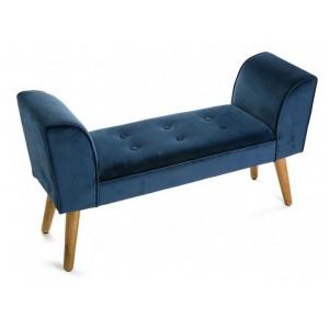 banc bout de lit velours bleu capitonné baroque versa mosa 91 cm