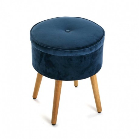 tabouret rond coffre velours bleu versa mosa