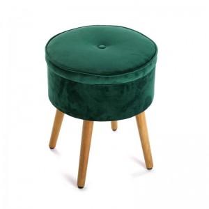 tabouret coffre rond velours capitonne vert versa mosa