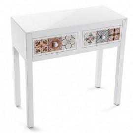 Console d'entrée blanche 2 tiroirs motif oriental Versa Marrakech