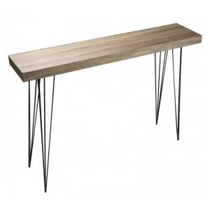 table console d entree epuree design bois et pieds graphiques metal noir versa