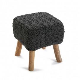 Tabouret carré bois tricot gris Versa Tempere