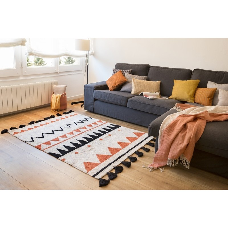 Tapis lavable en machine lorena canals azteque orange 120 for Paillasson lavable en machine