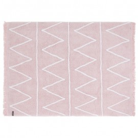 Tapis rose pastel coton lavable en machine Lorena Canals Hippy 120 x 160 cm
