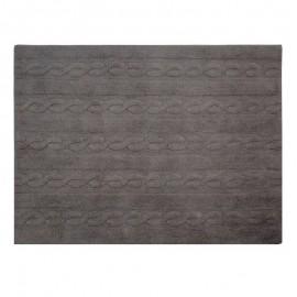 tapis gris fonce coton lavable en machine lorena canals trenzas 120 x 160 cm