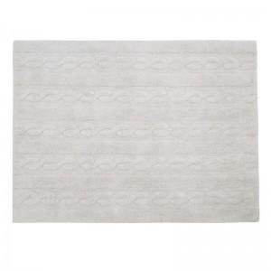 Tapis gris clair lavable en machine Lorena Canals Trenzas 120 x 160 cm