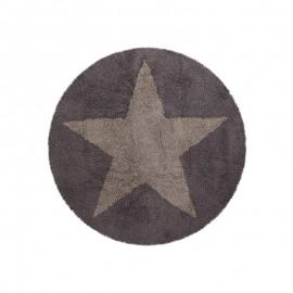 Tapis enfant rond gris beige étoile réversible Lorena Canals 140 cm