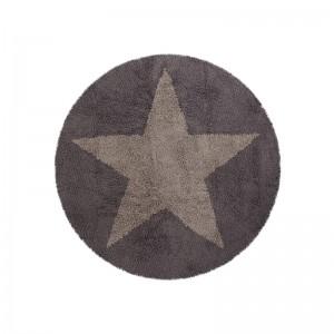 tapis enfant rond gris beige etoile reversible lorena canals 140 cm