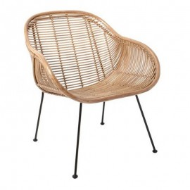 fauteuil design en rotin naturel hk living RAT0035