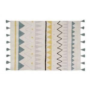 Tapis ethnique en coton bleu Lorena Canals Aztèque 120 x 160 cm