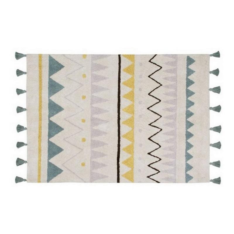 Tapis Ethnique En Coton Bleu Lorena Canals Azteque 120 X 160 Cm