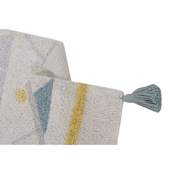 tapis ethnique en coton bleu lorena canals azteque 120 x 160 cm. Black Bedroom Furniture Sets. Home Design Ideas