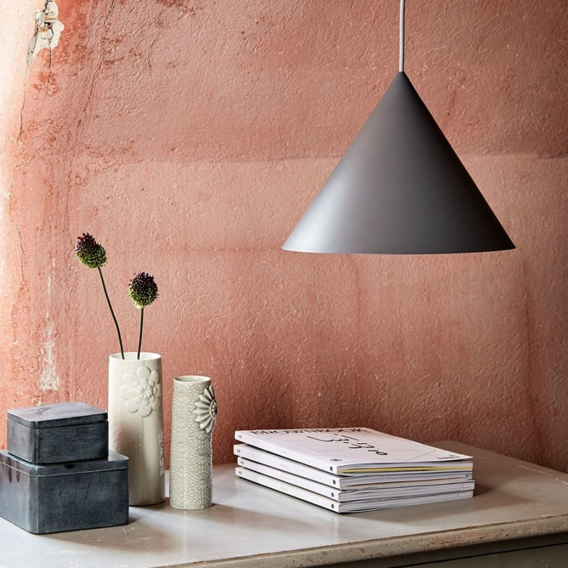 Suspension conique grise design frandsen benjamin for Suspension grise