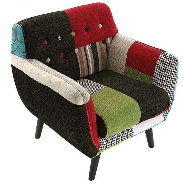 fauteuil avec accoudoirs multicolore patchwork versa 19500760. Black Bedroom Furniture Sets. Home Design Ideas