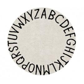 tapis rond coton noir et blanc alphabet abc lorena canals 150 cm