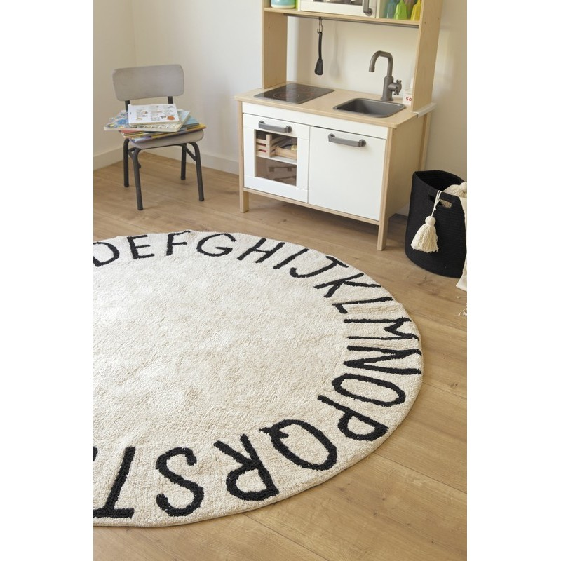 tapis rond coton noir et blanc alphabet abc lorena canals. Black Bedroom Furniture Sets. Home Design Ideas