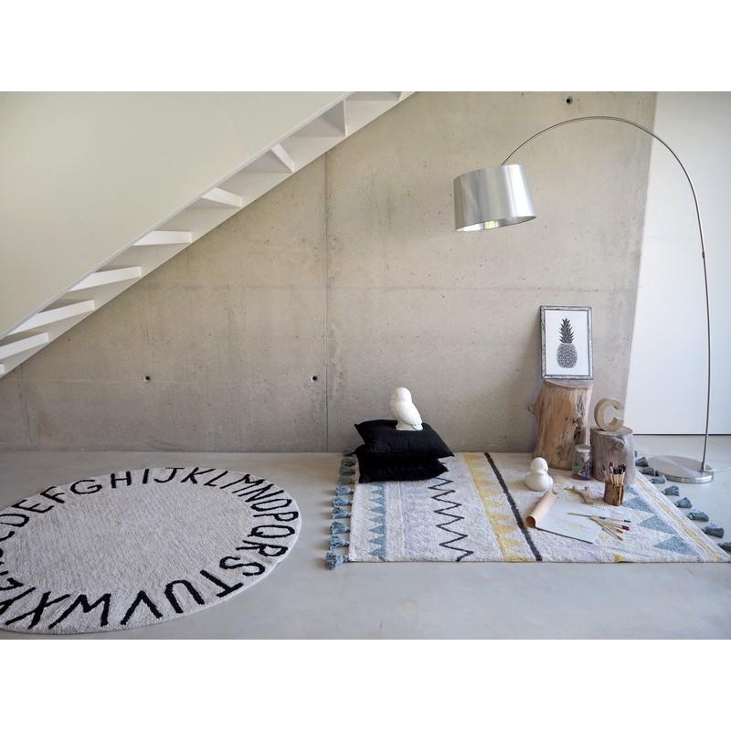 tapis rond coton noir et blanc alphabet abc lorena canals. Black Bedroom Furniture Sets. Home Design Ideas