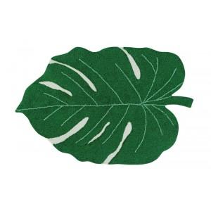tapis feuille tropicale verte coton lavable  machine lorena canals monstera leaf