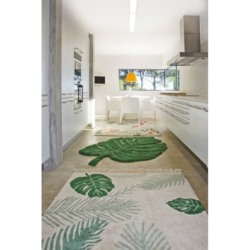 tapis feuille tropicale verte coton lavable machine lorena. Black Bedroom Furniture Sets. Home Design Ideas
