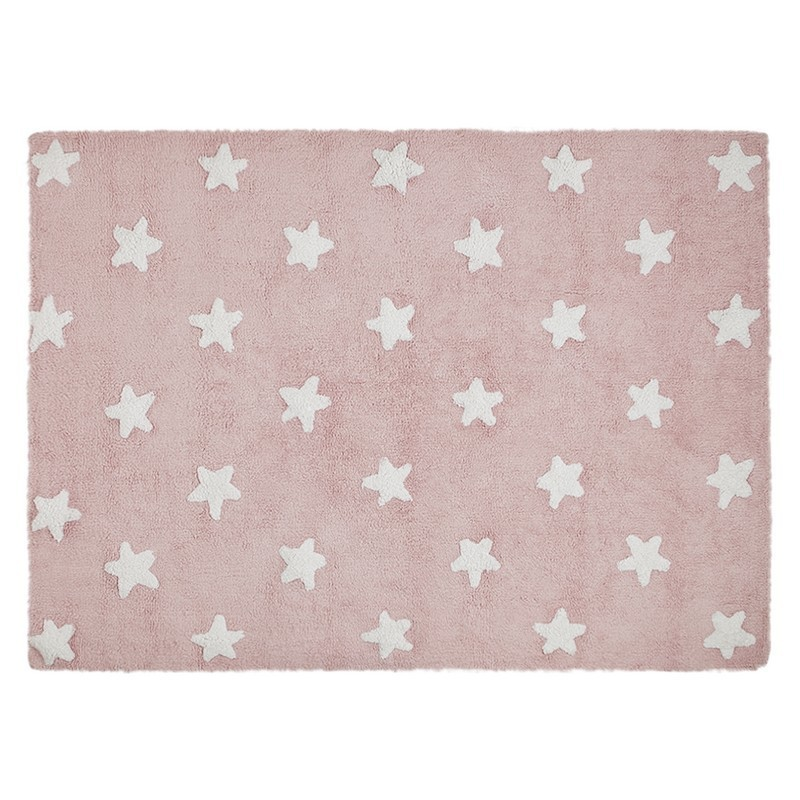 Tapis chambre fille rose etoiles blanches coton lorena for Tapis chambre fille rose