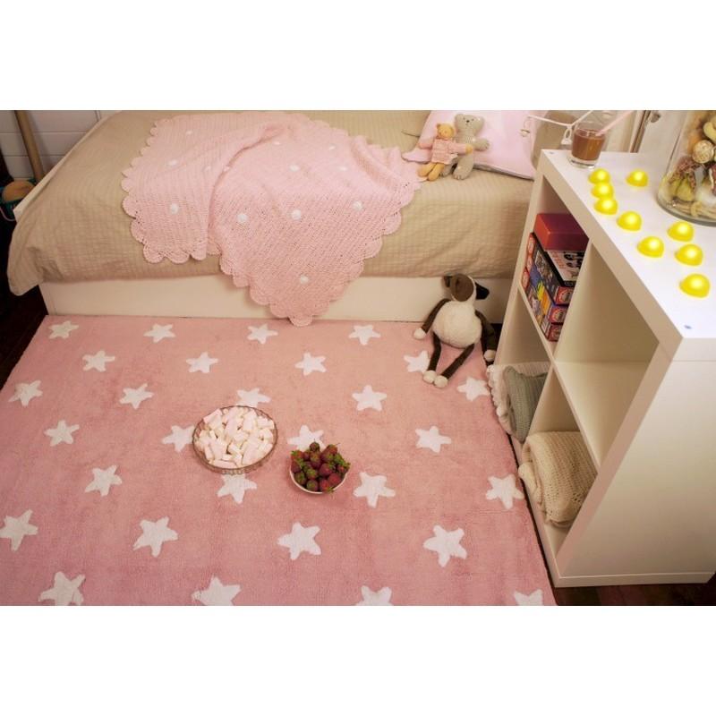 Tapis chambre fille rose etoiles blanches coton lorena - Tapis chambre rose ...