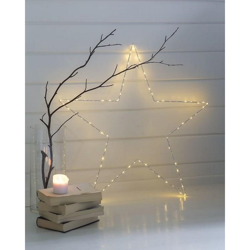 grande etoile lumineuse avec ampoules led metal blanc sirius liva star 31280. Black Bedroom Furniture Sets. Home Design Ideas